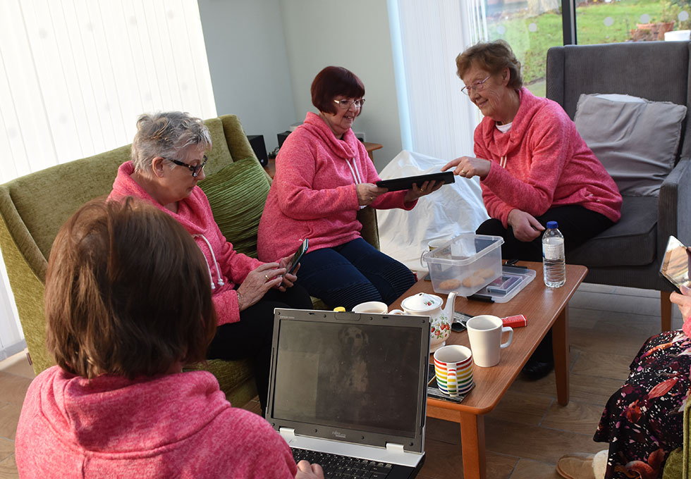 Bishop Ramsay Court - residents using devices